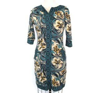 Tracy Negoshian Green Gold Stretch Dress XS